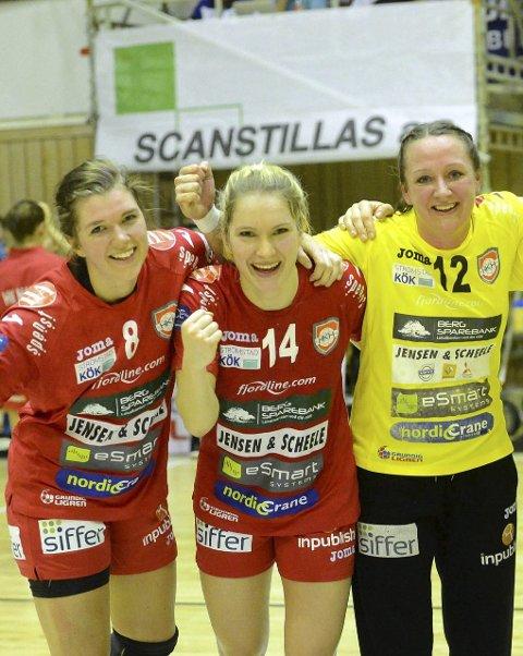 TRE AVGJØRENDE DANSKER: Mette Kryger Jørgensen (t.v.), Cecilie Mørch Hansen og Hanne Frandsen kunne juble fortjent i går. Foto: Ole John Hostvedt, Laagendalsposten.