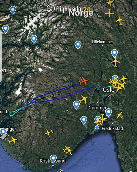 SNUR I LUFTA: Ifølge Flightradar returnerte Norwegian rute 196 tilbake til Gardermoen tirsdag kveld.