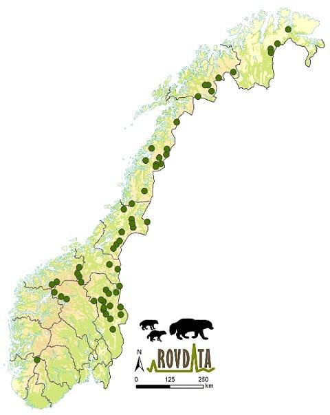JERVEKULL: Rovdatas illustrasjon viser hvor jervekullene er registrert sist vinter. I Hedmark var det 15.