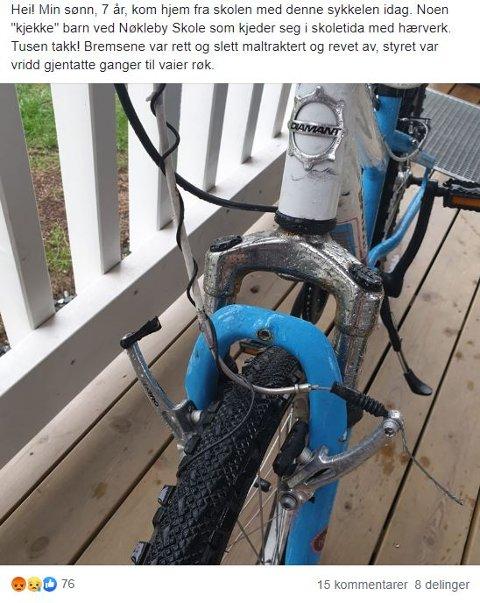 En far var frustrert etter at sønnen kom hjem med en ødelagt sykkel denne uken.