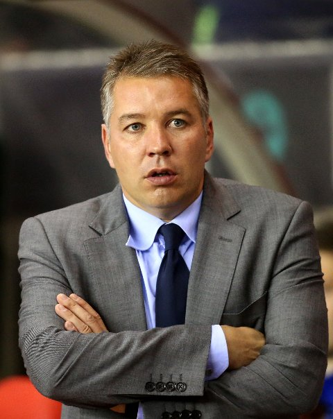 Peterborough's manager Darren Ferguson look's on ahead of their English League Cup soccer match against Sunderland at the Stadium of Light, Sunderland, England, Tuesday, Sept. 24, 2013. (AP Photo/Scott Heppell)