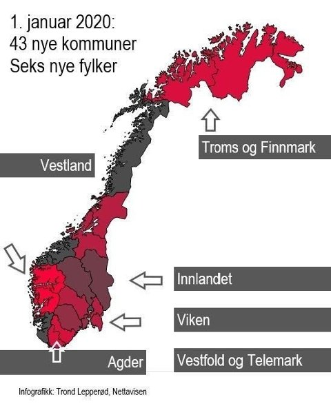 NYTT NORGESKART: Fra 1. januar vil 1,7 millioner nordmenn bo i en ny kommune. I løpet av kommunereformen er 119 kommuner blitt til 47 nye. 19 fylkeskommuner blir samtidig til 11. Fra nyttår 2020 har Norge seks nye fylker og 43 nye kommuner.