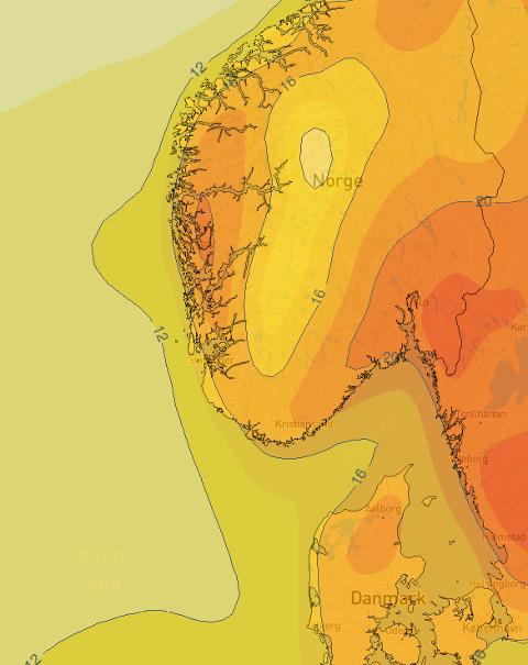 Dette bildet viser varmen over Sør-Norge torsdag kommande veke.