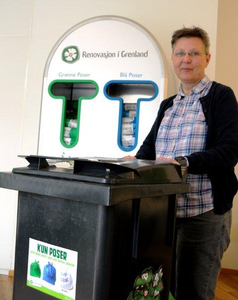 AMBISJONER: Anne Berit Steinseth i Renovasjon i Grenland har planene klare for de neste årene, en ny dunk for matavfall kan komme i 2021.