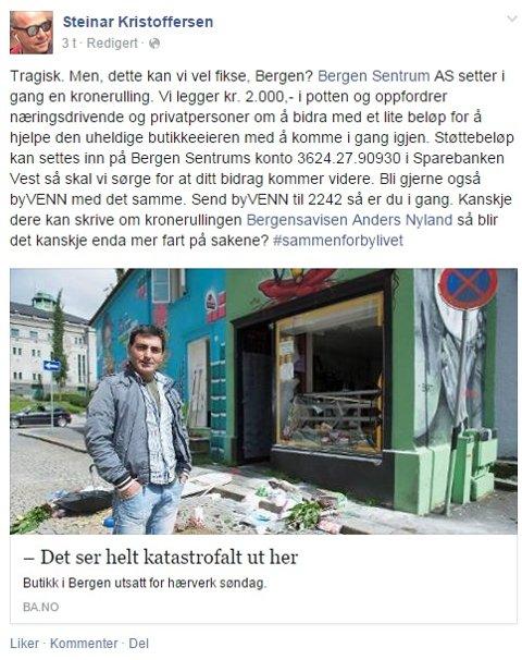 Dette innlegget la daglig leder i Bergen Sentrum AS Steinar Kristoffersen ut på Facebook søndag kveld.
