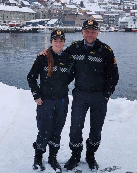 Påtroppende leder, Malin Andreassen og avtroppende leder, Runar Elde ved Nordkapp Lensmannskontor.