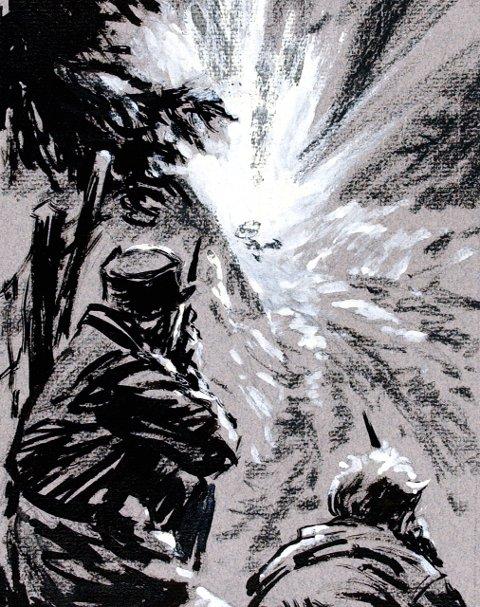 Sprengt: De norske soldatene skjøt på bussen fra Jevanhaugen. Bussen fraktet 200 kilo sprengstoff eksploderte. Tegning: Forsvarsmuseet, Oslo