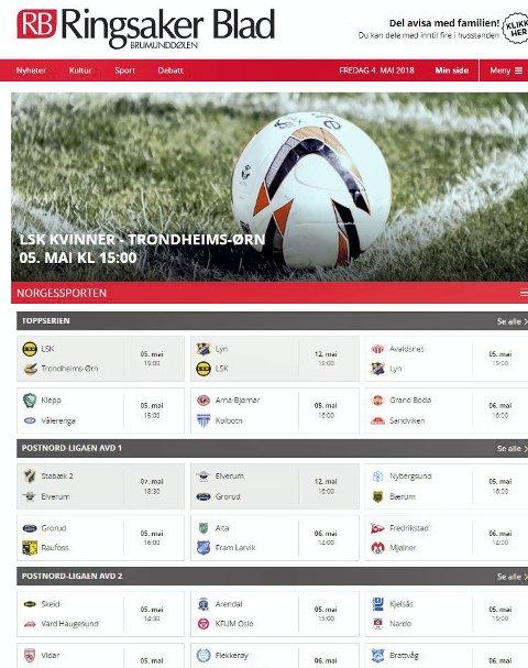 På nett: Under Norgessporten på RBs nettsider ligger oversikten over hvilke kamper som sendes direkte. Her er det bare å klikke seg inn på kamper fra hele Norge. I Ringsaker bor det folk fra store deler av Norge som vil ha interesse av det.