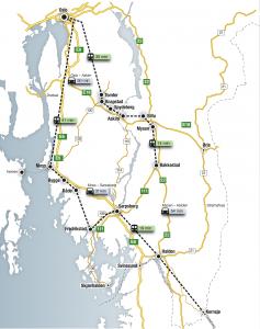 Østfold er et kompakt fylke med korte reiseavstander. Det bidrar til en høy intern arbeidsmarkedsintegrasjon.