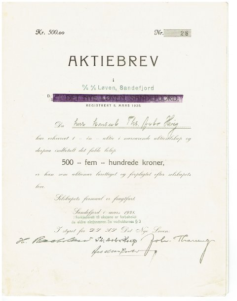 SKIPSAKSJE: Ett av mange selskaper Anders Jahre var involvert i var Dampskibselskapet Løven. Dette bærer Jahres signatur og er fra 1928.
