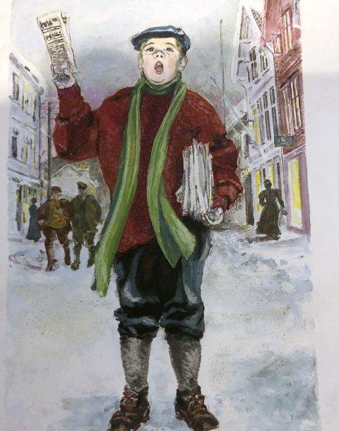 Avisbudet: Denne illustrasjonen preget forsinden på boksen Avisen ved sundet. Tegnet av Ivar Rudi.