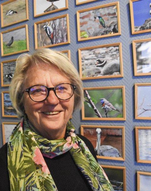 FUGLEVENN: Også innendørs holder Sigrid seg med mye fugl på veggene, bilder hun har tatt sjøl gjennom mange år.