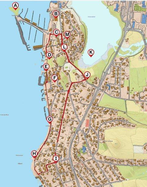 Kart over Stein Tau Strand Auestad sin siste tur så langt som heter «En tur rundt nullen på Tau».