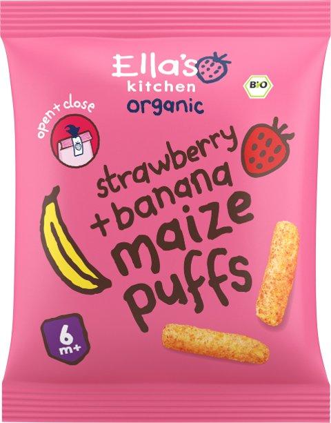 Ella's Kitchen Maize puffs strawberry + banana, Partinummer 03018 med best før dato 29/9-18, er trukket tilbake fra markedet.  Årsaken er at produketet ikk eer merket riktig i henhold til norsk forskrift.