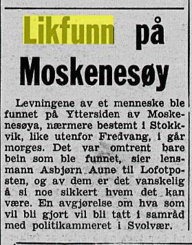 LIKFUNN: I Lofotposten 5. mai 1970 ble hendelsen omtalt.