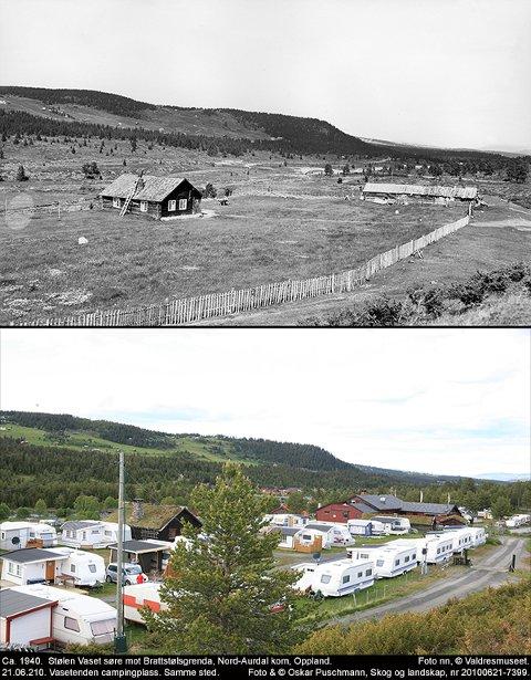 Endring: Det øvste bildet viser Vaset Søre-stølen  fotografert rundt 1940 og nytt bilde av Vasetdansen Camping, fotografert frå same stad.