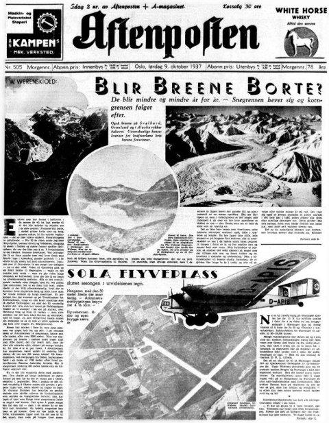 Forsiden av Aftenposten 9. oktober 1937