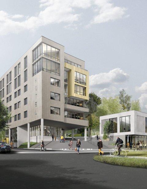 KAN KOMME SNART: Unike Hoteller håper hotellet i byparken står klart i 2022.