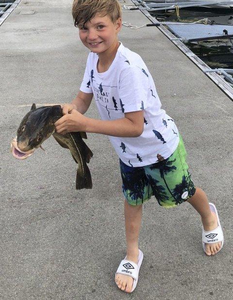 TORSK: Peter (8) fra Rælingen fisket på Vestlandet.