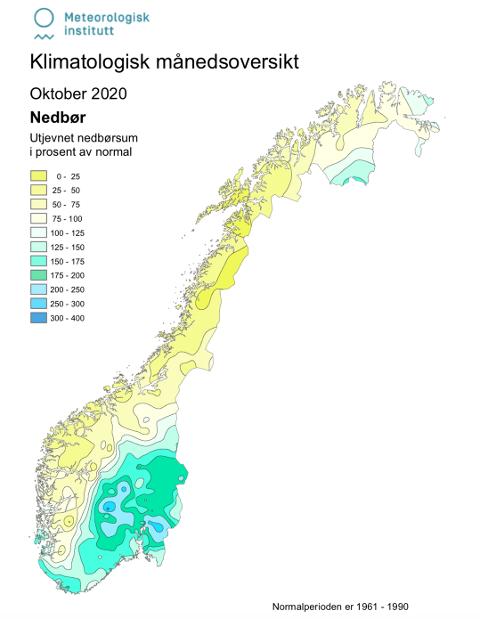 Flere stasjoner på Østlandet fikk over det dobbelte av normalen. Illustrasjon: Meteorologisk institutt