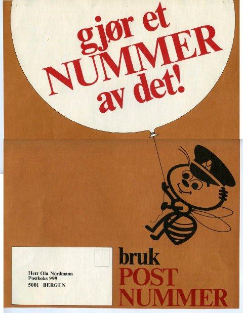 Plakater som dette ble brukt i markedsføringen av postnummersystemet for 50 år siden.