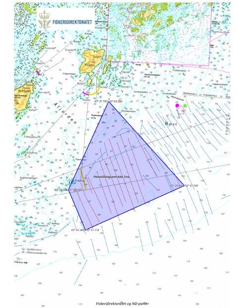 HENSTILLINGSOMRÅDE: I det skraverte feltet er det linefiskerne som  har fortrinnsrett.