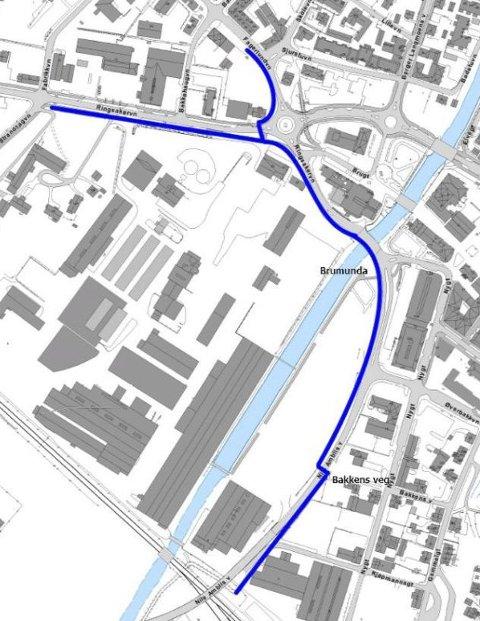 NY STANDARD: Den blå streken viser hvor Ringsaker kommune planlegger å bygge en ny type gang- og sykkelveg hvor gående og syklende er atskilt. Kartskisse: Ringsaker kommune