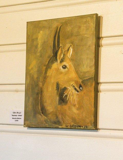 MÅLA I AFRIKA: Wenche Bettum har vore i Afrika, og målte mellom anna dette måleriet då ho var der.