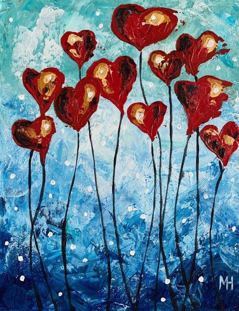 «Hjerteblomster» (akryl)