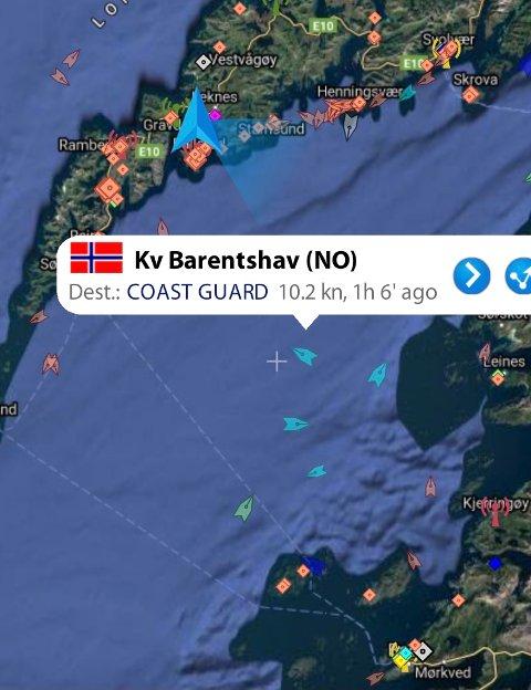 """LETEAKSJONEN: Der KV """"Barentshav"""" befinner ser det nordligste punktet i søkeområdet."""