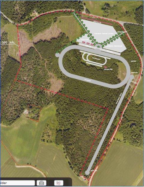 RØNNELD: Slik ser planene for den nye travbanen med tilhørende anlegg på Rønneld, ut.