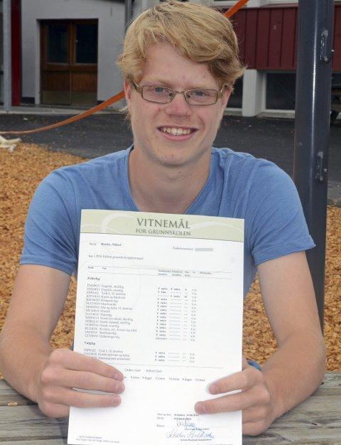 Topp: Mikkel Brørby gikk ut av Jevnaker skole med smått utrolige 17 seksere og én enslig femmer - i engelsk muntlig.