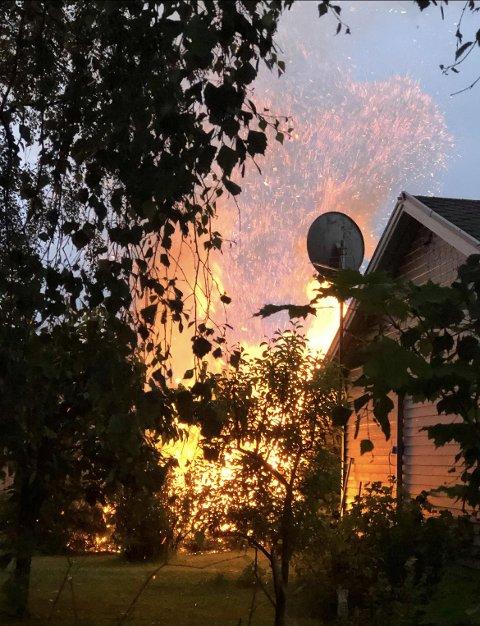 Det brant på Karrestad i natt.