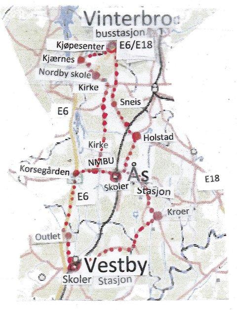 En åttetalls toveis ringbuss i Nordby, Ås og Vestby