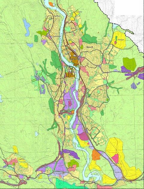 BYGGEOMRÅDER: Denne oversikten i den nåværende kommuneplanen viser hvor i Kongsberg det er satt av områder til boligbygging. Områdene er markert i gult. Hvordan arealplanen skal se ut for de neste ti år, skal besluttes i løpet av våren.