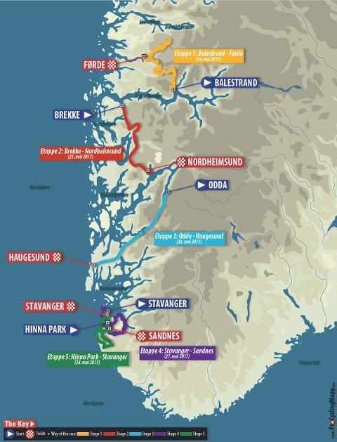 FEM ETAPPAR: Slik blir dei fem etappane under årets Tour des Fjords.