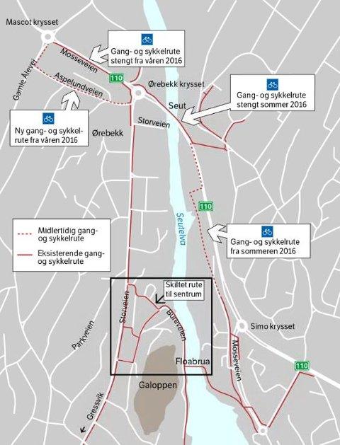 BRUK FLOABRUA: Her er alternativ rute over Seutelva for gående