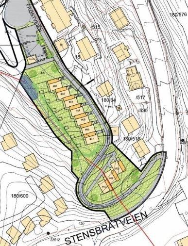 PLANOMRÅDET: Tre av rekkehusene vil vende mot Stenrbåtveien og en rekke på syv hus vil ligge langs Frostveien.