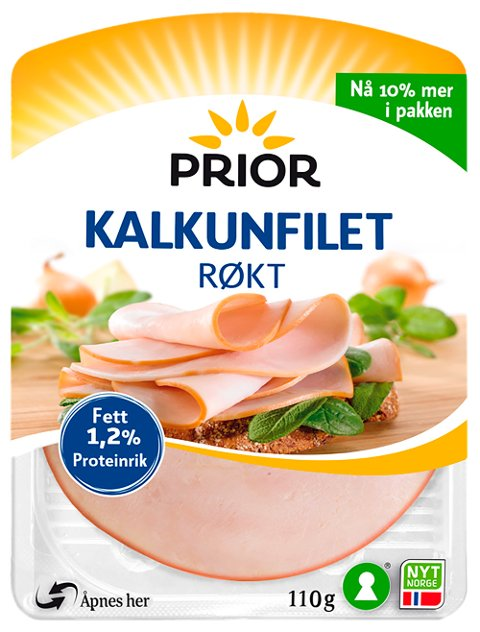 Oslo 20190923.  Prior Kalkunfilet Røkt tilbakekalles grunnet allergener Produktet kan inneholde spor av egg. Foto: Nortura / NTB scanpix