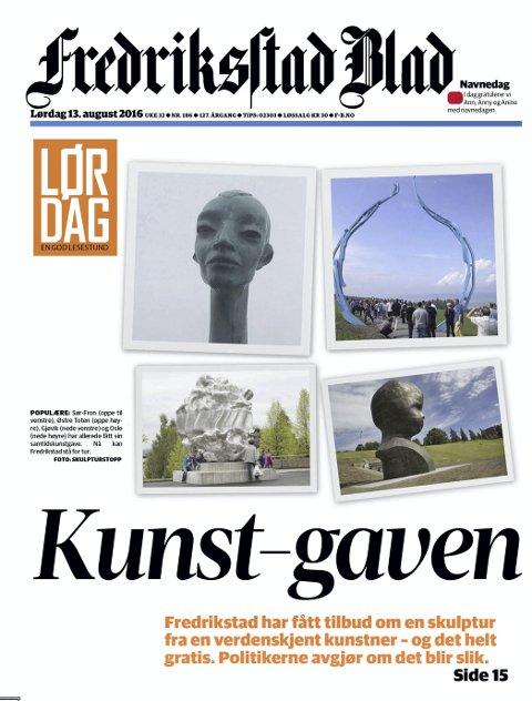 Gave: Lørdag i forrige uke brakte Fredriksstad Blad nyheten om at kommunen er tilbud en gratis skulptur. Faksimile