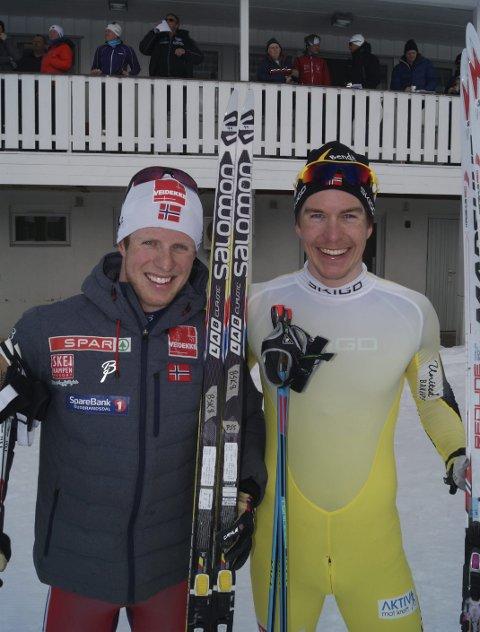 Gode «busser»: Petter Soleng Skinstad (t.v) og Vetle Thyli er gode kompiser. Lørdag kommenterer Soleng Skinstad når Thyli går det andre rennet i Ski Classics, La Sgambeda, i Livigno. Arkivbilde