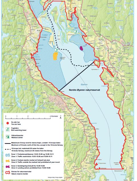 Naturreservatets grenser: Kartet her viser på en fin måte hvordan grensen følger strandkanten fra Gullaugvika (Lillestrøm) i nord til Skøyen (Enebakk) i sør, sier Thomas Sæther.