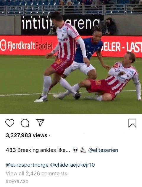 ØYEBLIKKET: Her sender Chidera Ejuke både Simen Wangberg og Magnus Andersen i pølseboden, før han setter ballen i mål under keeper Jakob Karlstrøm.