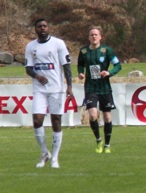Meldingen fra Urædd-spiss Olivier Occéan (t.v.) kom dagen etter kampen der Staal Jørpeland vant 2-0 over Urædd på Jørpeland stadion.