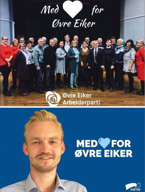 ENIGE: Både Arbeiderpartiet og Høyre vil det beste for sine innbyggere i Øvre Eiker, men dette slagordet var det Høyre som lanserte i 2018.