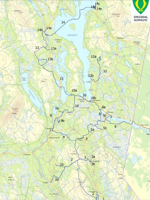 Kart over snøscootertraseer i Engerdal kommune som er ute på høring