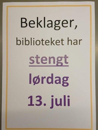STENGT: Biblioteket i Elverum har sommerstengt på lørdager, men har vanlig åpningstid, ellers.
