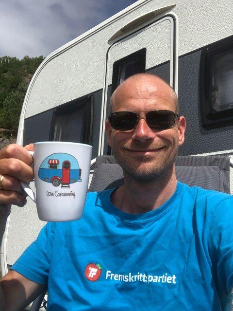 CAMPING: Jan Morten Nyhus fra Lund bruker sommeren i campingvogna.