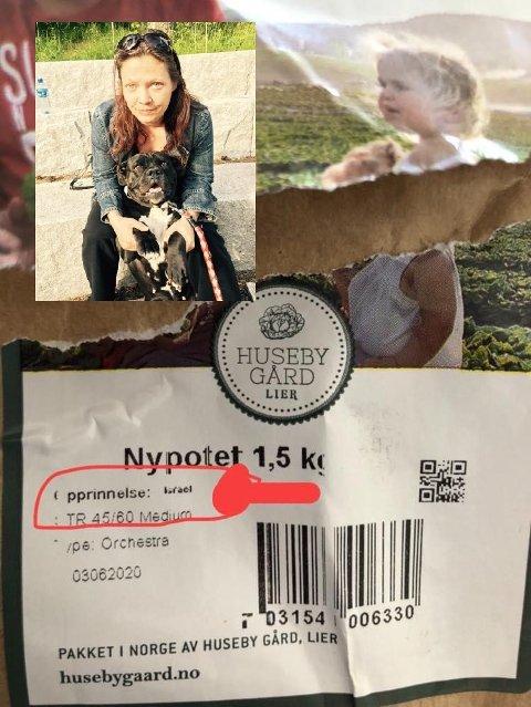 FØLER SEG LURT: Signe Veitsle trodde hun hadde kjøpt norske nypoteter. Da hun kom hjem oppdaget hun at potetene var fra Israel, og ikke Norge. Nå ønsker hun seg bedre merking.