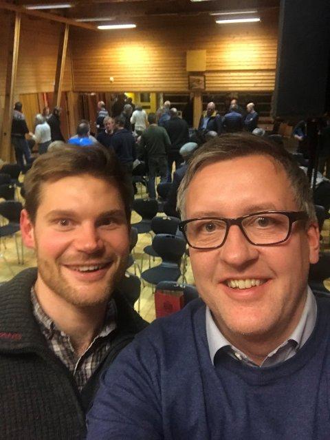 Rune Støstad, nestleder i Innlandet Arbeiderparti og Nils Kristen Sandtrøen, stortingsrepresentant og landbrukspolitisk talsperson i Arbeiderpartiet. Foto: Innlandet Arbeiderparti